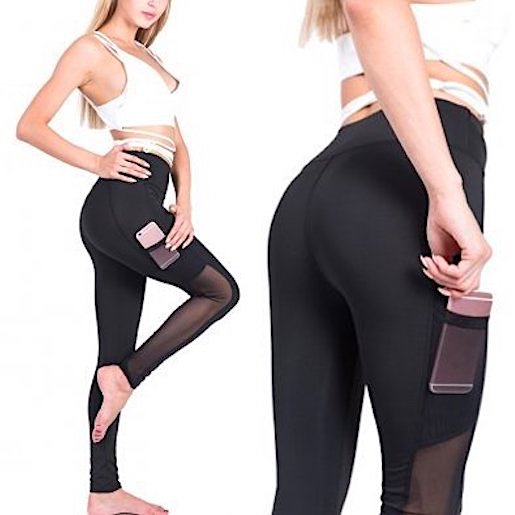 Training tights with mobile pocket